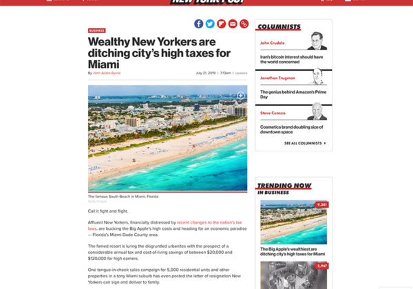 New Yorkers are ditching city's high taxes for Miami